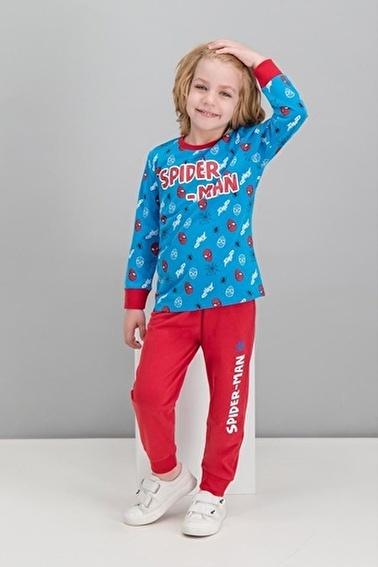Spider-Man Spider Man Lisanslı Lacivert Erkek Çocuk Pijama Takımı Mavi
